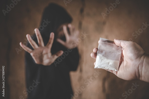 Stop drug addiction concept  Human hands stop drugs