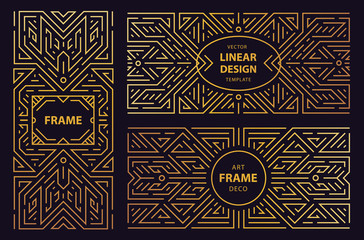 Vector set of art deco frames, adges, abstract geometric design templates for luxury products. Linear ornament compositions, vintage. Use for packaging, branding