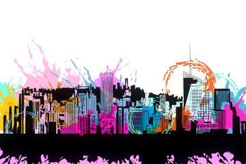 Wall Mural - Bright city doodle