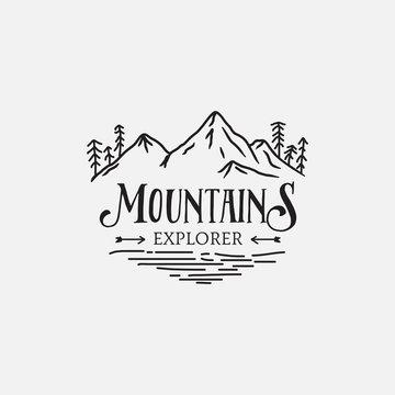 Mountain Pine Trees retro logo hipster design