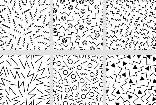Set of minimalistic neo memphis patterns.
