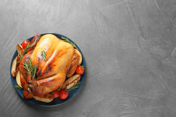Delicious roasted turkey on table, top view. Space for text Wall mural