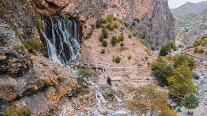 Wall Mural - water , lake , waterfall wallpaper and bacground old bridge