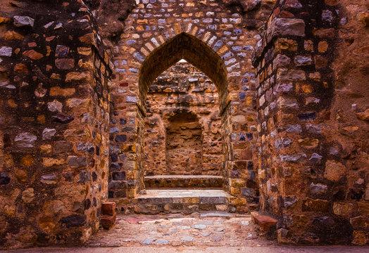 ancient ruins in Qutub complex at Qutub Minar in New Delhi, India
