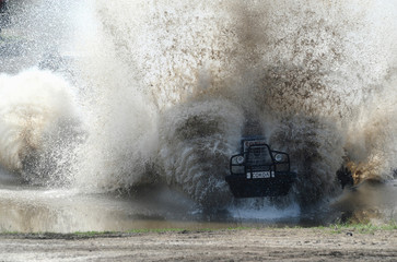 A participant attends a regionaltractorracing competition Bizon-Track-Show outside of Rostov-on-Don