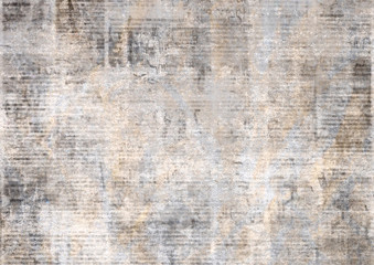 Newspaper with old grunge vintage unreadable paper texture background Wall mural