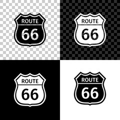American road icon isolated on black, white and transparent background. Route sixty six road sign. Vector Illustration