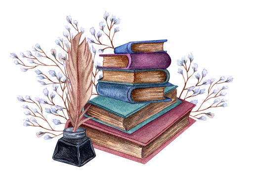 Hand Drawn watercolor illustration a pile of old books with ink bottle, feather floral twig.