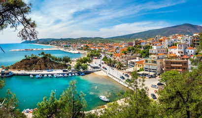 Wall Mural - Landscape with Limenaria city and harbour at Thassos island, Greece