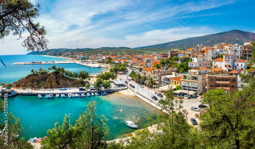 Wall mural Landscape with Limenaria city and harbour at Thassos island, Greece