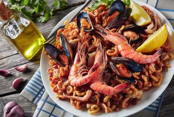 close-up of Spanish Fideua on a plate