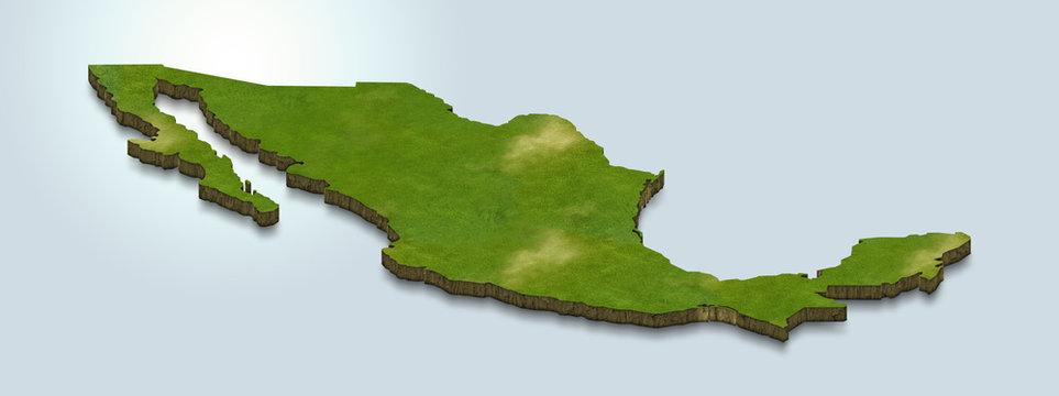 3D map illustration of mexico