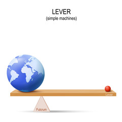 Lever with Earth and small ball. simple machines by Archimedes.
