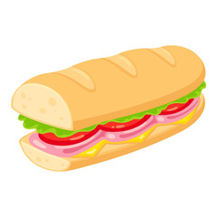 Photo sur Aluminium Snack Sub sandwich illustration