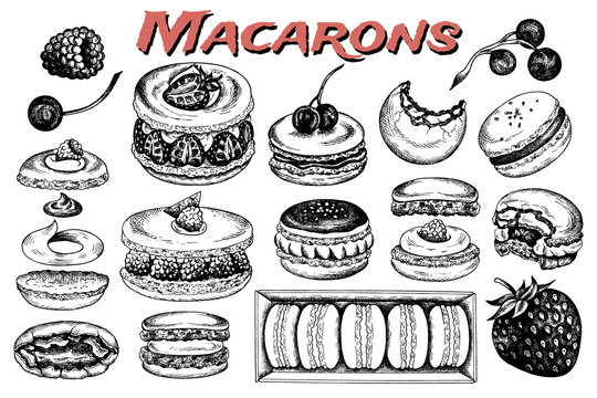 Vector illustration of sketch hand drawn set of macarons. French pastry macaron with berries, chocolate, cream, fruits, cherry, strawberry. Dessert, macaroon, sweets for menu design, restaurants, shop