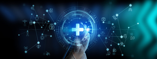 Doctor hand with stethoscope and Ui icon medical in hospital with medical technology network concept. - fototapety na wymiar