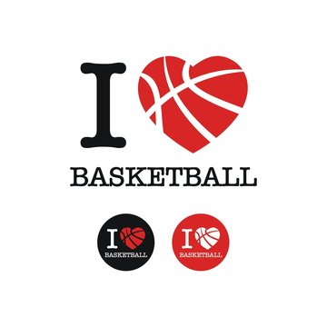 i love Basketball, font type with signs vector, for print t shirt, poster, stickers, card, mug, logo design