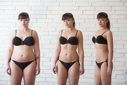 before and after losing weight. comparison of fat and thin women. liposuction results. rejuvenation. healthy lifestyle. fitness and diet.
