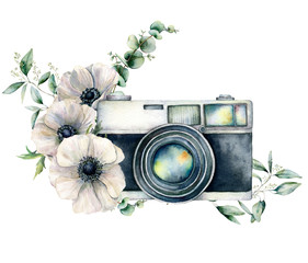 Watercolor card composition with camera and anemone bouquet. Hand painted photographer logo with floral illustration isolated on white background. For design, prints or background.
