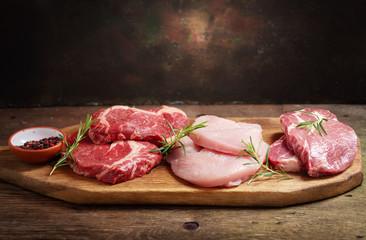 various types of fresh meat steaks: beef, pork and turkey Wall mural