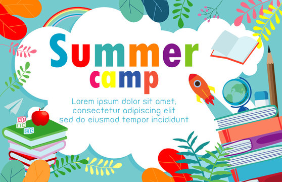 summer camp education concept Template for advertising brochure, activities on camping , poster flyer template, your text ,Vector Illustration