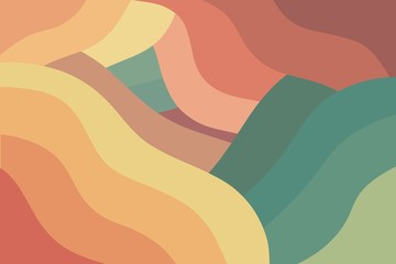 Modern colorful wavy retro background. Geometric shapes. Abstract design.