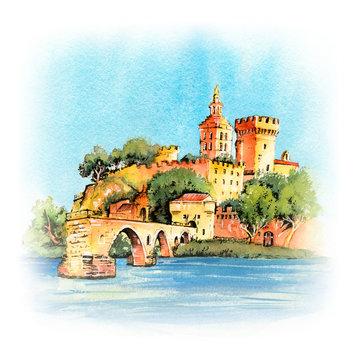 Famous Avignon Bridge, France
