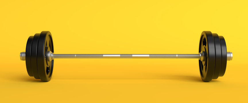 Barbell with black plates isolated on patel yellow background. Front view with copy space. Creative minimalism concept 3d rendering illustration