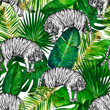 Seamless pattern with graphic white tigre and gouache green tropical leaves