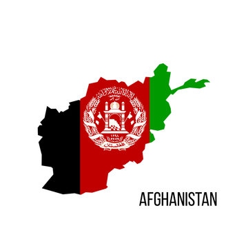 flag map Afghanistan. Vector illustration isolated on white background.
