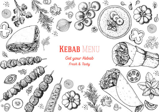 Doner kebab and ingredients for kebab, sketch illustration. Arabic cuisine frame. Fast food menu design elements. Shawarma hand drawn frame. Middle eastern food.