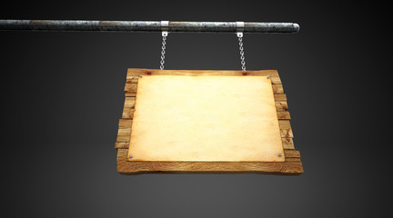 Antique empty wooden sign, hanging with iron chains, vintage, 3d rendering, 3d illustration