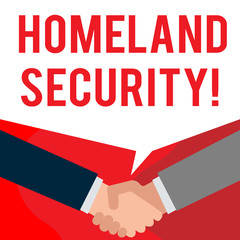Handwriting text writing Homeland Security. Conceptual photo federal agency designed to protect the USA against threats Two persons have bubbly conversation while greet each other and shake hands