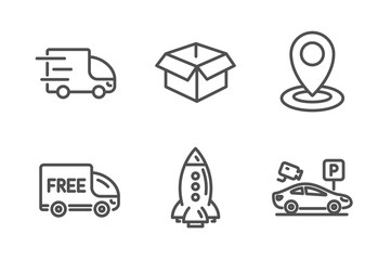 Rocket, Free delivery and Location icons simple set. Truck delivery, Opened box and Parking security signs. Spaceship, Shopping truck. Transportation set. Line rocket icon. Editable stroke. Vector