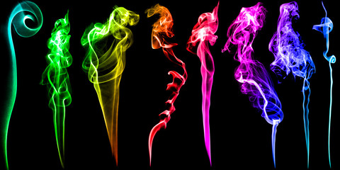 Set of multicolored fume and smoke on black background