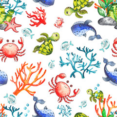 Watercolor children's seamless patterns with underwater creatures: whale, turtle, crab, octopus, starfish, narwhal, jellyfish, seaweed, corals, shells for baby shower, shirt design, invitations