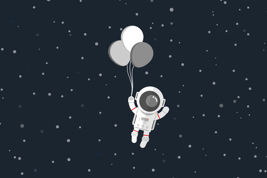 Flat design, Astronaut with balloon, Vector illustration, Infographic Element