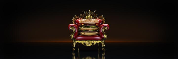 Burger with crown. 3d rendering Fototapete