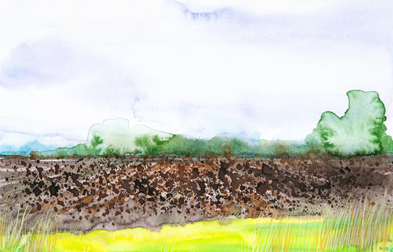 Plowed Russian field with forest in the background and grass in the foreground. Watercolor illustration of a rural location