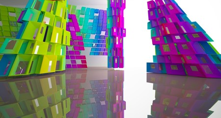 Fototapeta Abstract white and colored gradient parametric interior  with window. 3D illustration and rendering.