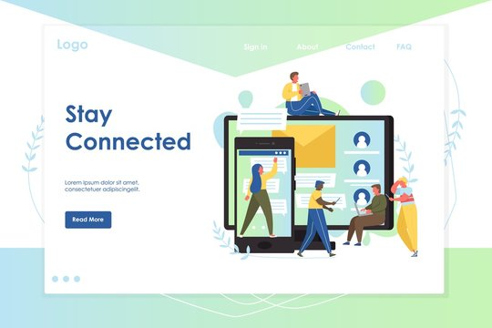 Stay connected vector website landing page design template