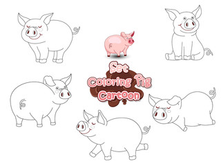 Set Coloring the Cute Cartoon Pig. Educational Game for Kids. Vector illustration With Cartoon Funny Animal Frame