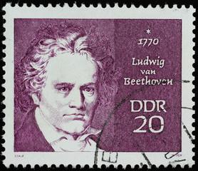 Ludwig van Beethoven on old german stamp