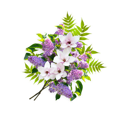 Beautiful floral bouquet consists of lilacs flowers and magnolia isolated on white background