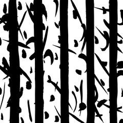 Autocollant pour porte Oiseaux dans la foret Brush grunge pattern. White and black vector.