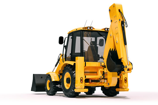 3d backhoe loader on white background