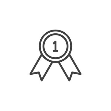 First place award line icon. linear style sign for mobile concept and web design. Award, medal badge outline vector icon. Winner, victory symbol, logo illustration. Vector graphics
