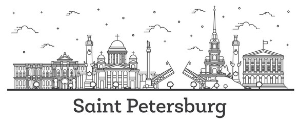 Outline Saint Petersburg Russia City Skyline with Historic Buildings Isolated on White.