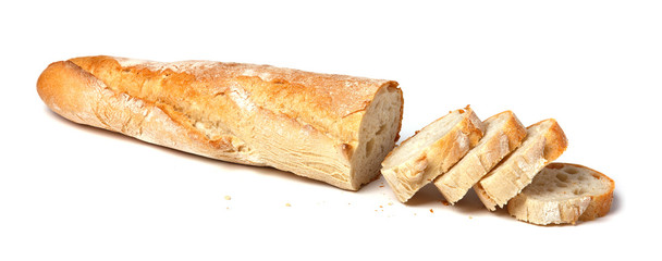 French baguette sliced. Isolated on white background.