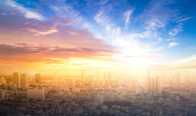 World environment day concept: Colourful city and sky sunset background